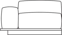 Armrest/1-seater, connected on right-hand side