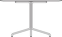 Table Ø1200 mm, height 720 mm, white pigmented oak laminate