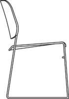 Chair, white laminate NCS S0502-G50Y, qty < 249