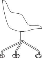 Chair, frame white lacquered, white castors