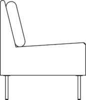 Sofa, 2-seater, straight section, fixed cover