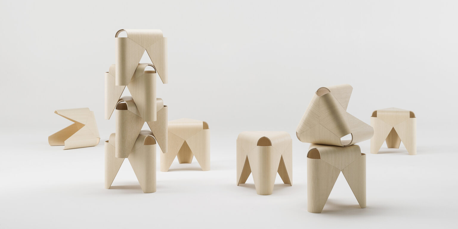 Offecct Wooden verneer stool by Lucy Kurrein