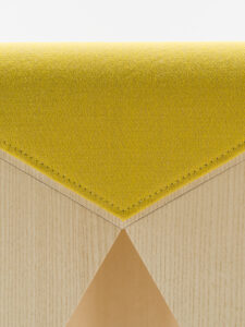 Offecct Wooden upholstered verneer stool by Lucy Kurrein